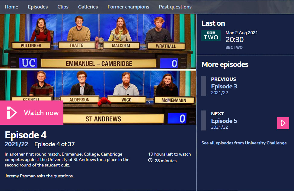 今月のYouTube「ユニバーシティーチャレンジ(BBC)」